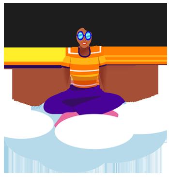Zen Yoga Queen floating on a cloud